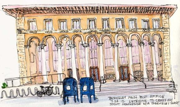 "Berkeley Main Post Office, 5x8"", Ink & watercolor"