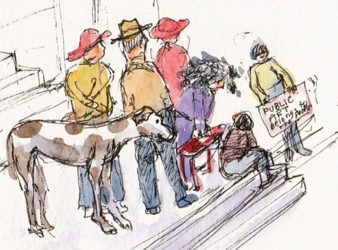 Post Office Protestors, ink & watercolor