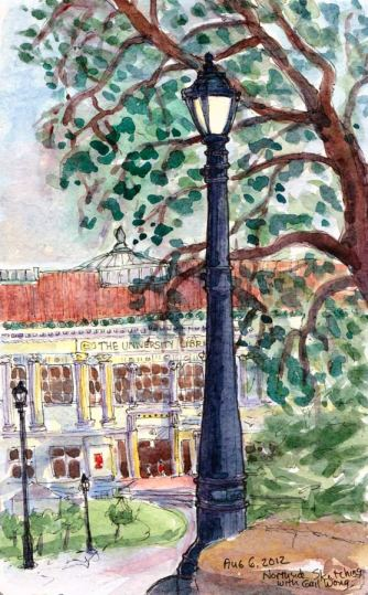 Northside Sketch - U.C. Berkeley University Library, ink & watercolor 8x5""