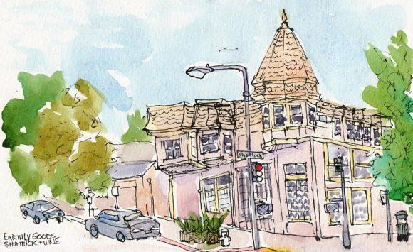 """Earthly Goods, Shattuck & Vine, Berkeley, ink & watercolor, 8x5"""""""