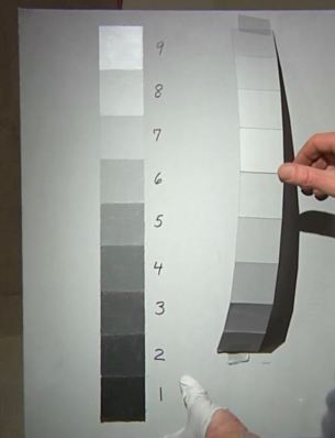 Same Value 5 gray strip curved to show the range of values as it turns from light