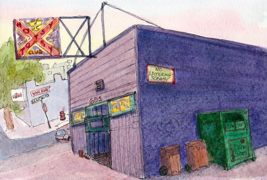 """Hotsy Totsy Club at Sunset, ink & watercolor 5x8"""""""
