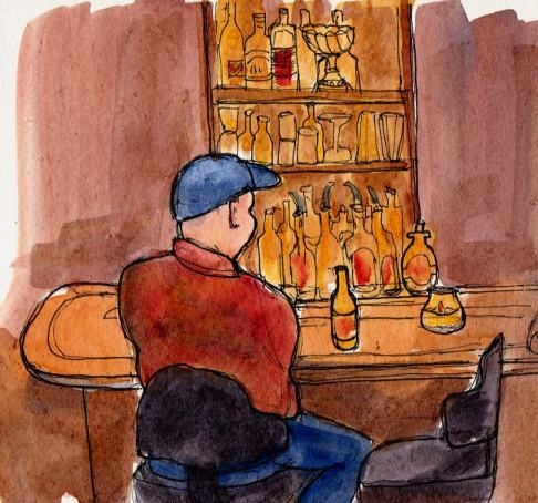 Hotsy Totsy interior, ink & watercolor, 5x5""