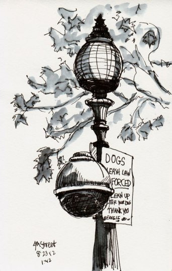 Streetlight on 4th Street Patio, Berkeley, ink and water, 8x5