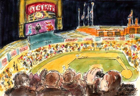 Rigoletto: SF Opera at the Ballpark, ink & watercolor