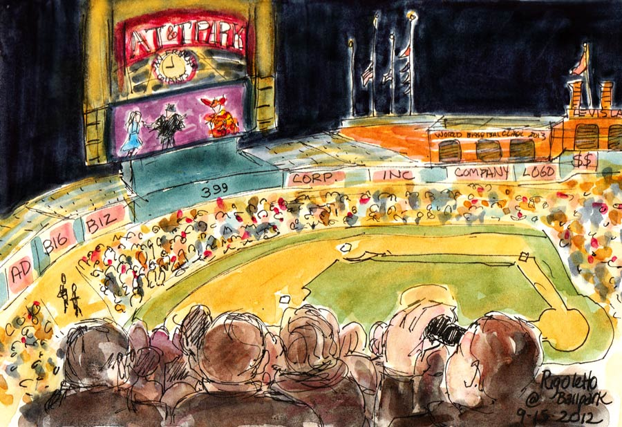 Rigoletto: SF Opera at the Ballpark, ink & watercolor