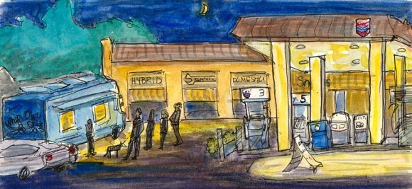 """Kensington Chevron with Whip-Out Food Truck, ink & watercolor 8x4"""""""