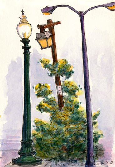 Kensington Street Lights, ink & watercolor, 8x6""
