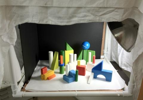 Block landscape set up in lightbox