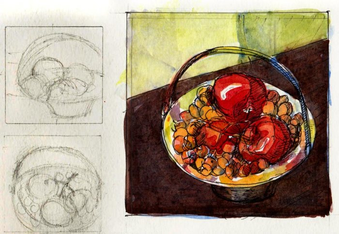 Preliminary thumbnails and watercolor sketch