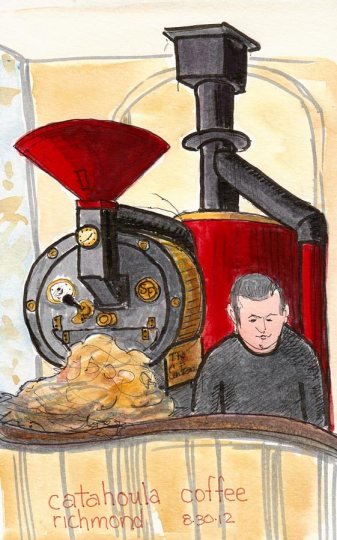 """Catahoula Coffee Roaster, ink, marker & watercolor, 8x5"""""""