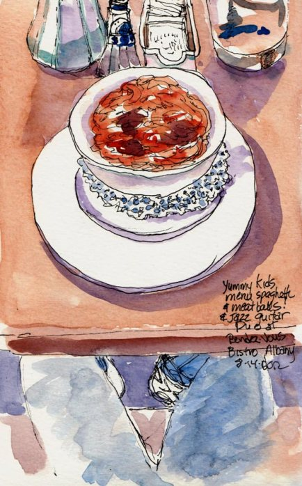 Kid's Menu Spaghetti & Meatballs with my legs under table, ink & watercolor