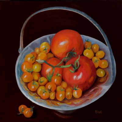 Happy Boy Farms Tomatoes, oil on board, 12x12""