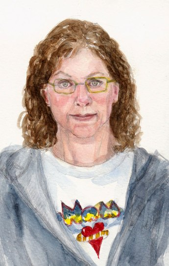 End of Journal Watercolor Self Portrait of Jana Bouc, Artist, graphite and watercolor, 7.5x5""