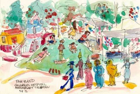 """Fairyland Parade and Sliding Hill, ink & watercolor 8x6"""""""