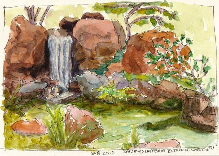 "Japanese Garden at Lake Merritt, ink & watercolor, 6x8"""
