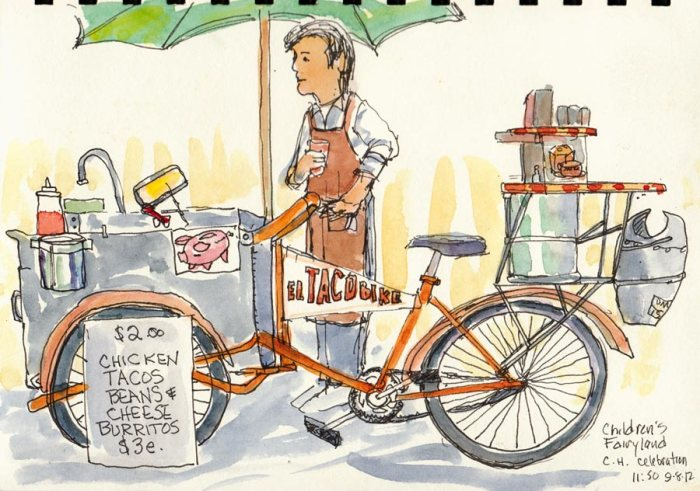 """Taco Bike at Fairyland, ink & watercolor, 8x6"""""""
