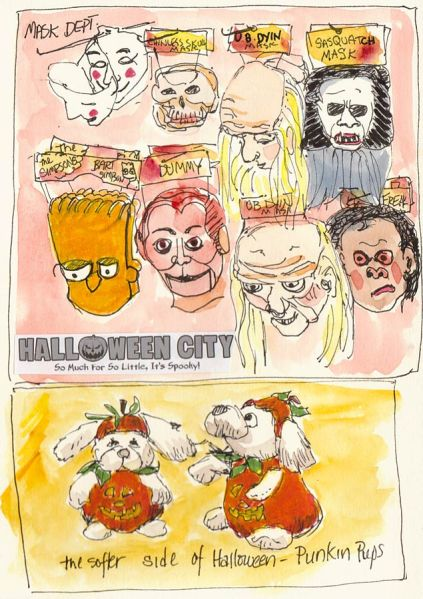 Halloween City Masks and Punkin Pups, ink & watercolor, 8x5""