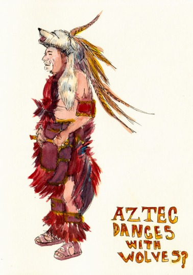 Aztec Dancer wearing animal head, fur and feathers