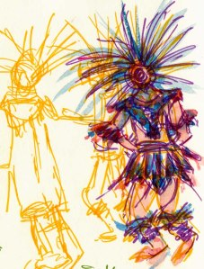 Aztec Dancers, brush pen ink