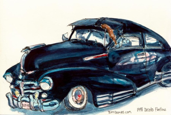 "1948 Chevy Decoto Fleetline, ink & watercolor, 5x8"" (drawn on site, painted at home)"