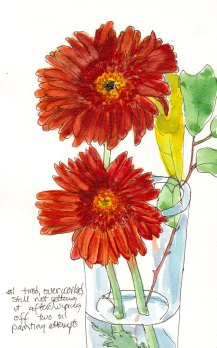 Gerbera Daisy, Attempt #1, watercolor & ink