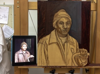 5-Started with a burnt sienna underpainting and added dark background