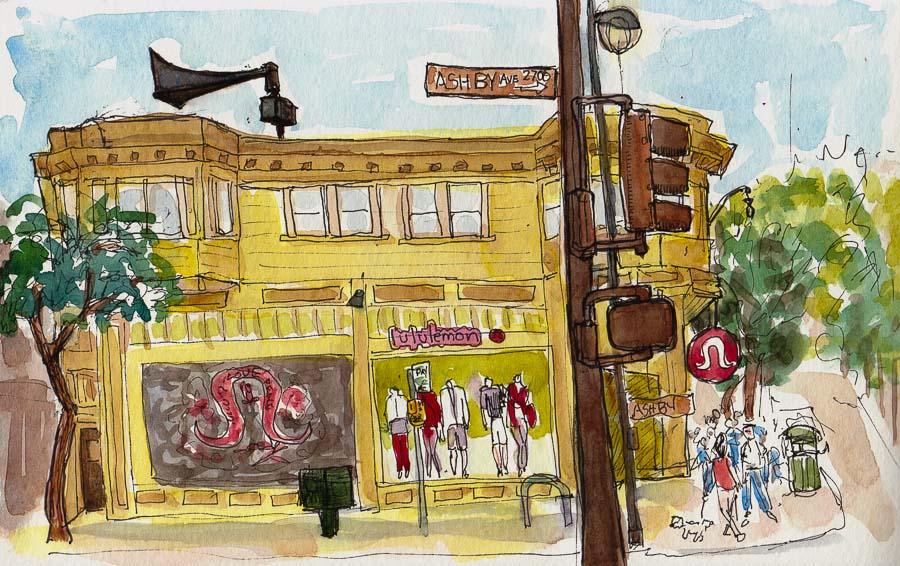 """LuluLemon, Corner of Ashby & College, Berkeley, ink & watercolor, 5x8"""""""