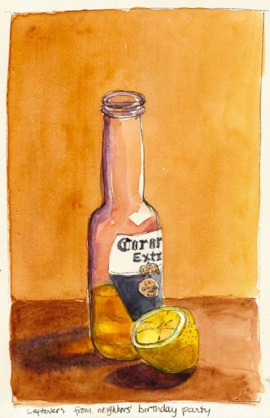 Beer and Lemon, Ink & Watercolor, 8x5""