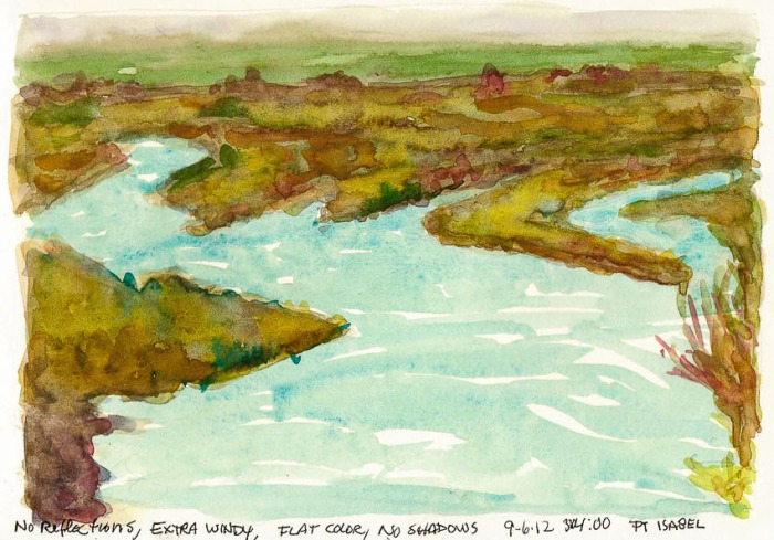 View from Pt. Isabel Bridge #2, ink & watercolor, 6x8""
