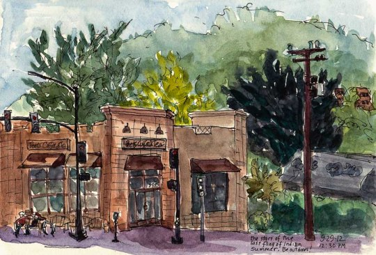 Peet's Coffee and Albany Hill, El Cerrito, ink & watercolor, 5x8""