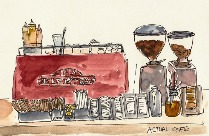 Actual Cafe Espresso machine and counter, ink & watercolor, 6x8""