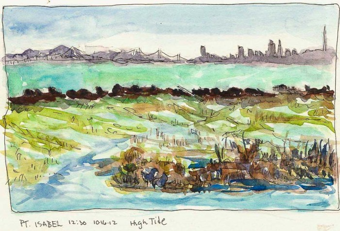 View from Pt. Isabel Bridge #3, ink & watercolor, 6x8""