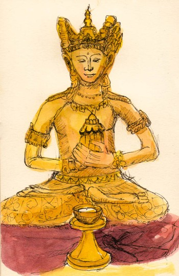 Bodhisattva, ink & watercolor sketch