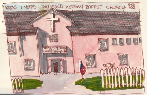 Polling Place-Richmond Korean Baptist Church, ink & watercolor