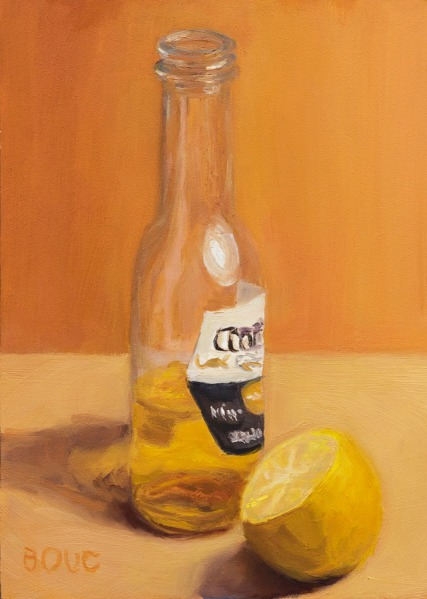 After the Party: Cerveza and Lemon, oil on Gessobord, 7x5""