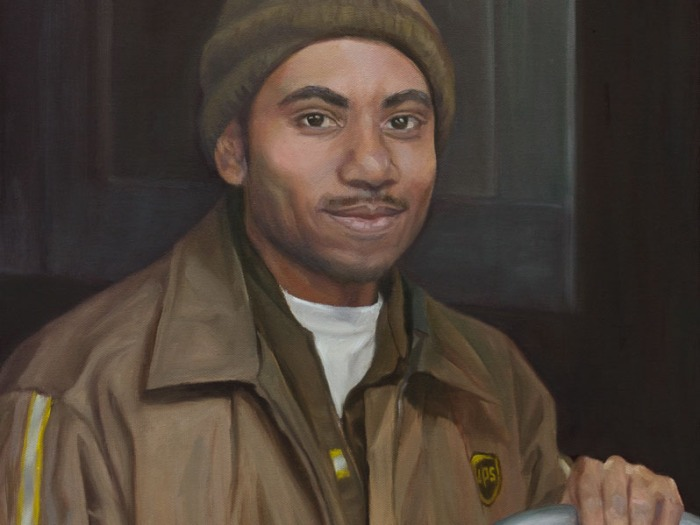 UPS Delivers at Night, Oil on Canvas, 20x16
