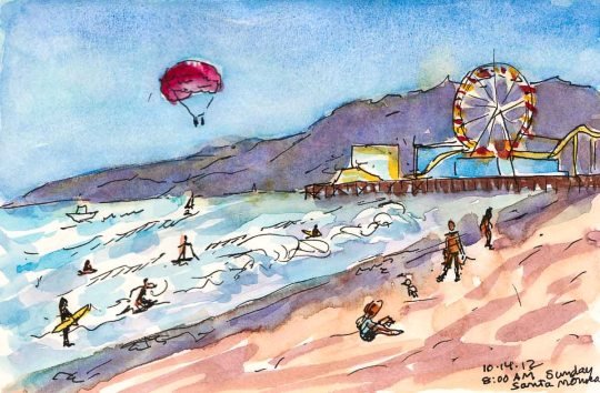 Santa Monica Morning Beach Walk #1, ink & watercolor