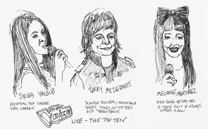 The Voice: Sylvia, Terry & Melanie, drawn in ink from TV on pause, 5x8""