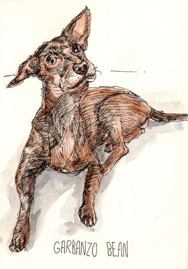 Preliminary sketch, ink & watercolor, 8x6