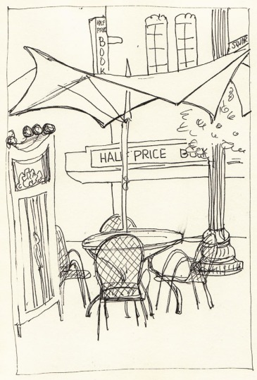 Half Price Books from Inside PiQ Cafe, ink, 8x6""