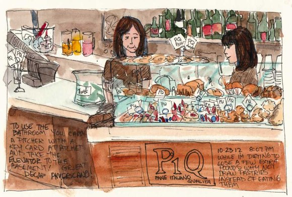 PiQ Cafe Counter, ink & watercolor, 6x8""