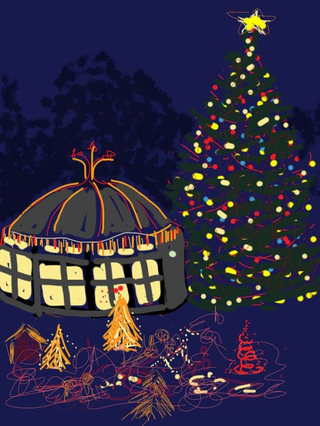 Tilden Carousel and Christmas Lights, sketched on iPad in Sketchbook Pro