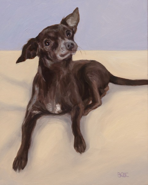 Garbanzo Bean, Dog Portrait in Oil, 10x8""