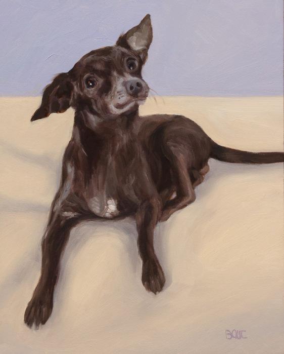 "Garbanzo Bean, Dog Portrait in Oil, 10x8"""