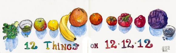 12 Things on 12-12-12 @ 12:12, ink & watercolor, 5x16""