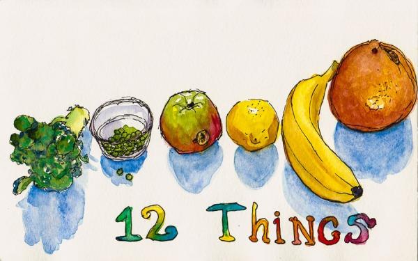 """12 Things...ink & watercolor, 5x8"""""""