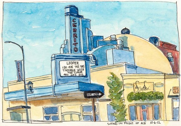 """Theater, ink & watercolor, 6x8"""""""