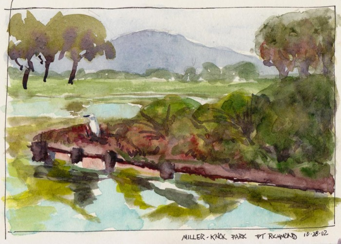 "Egret at Miller-Knox Park, Ink & watercolor 5x8"""