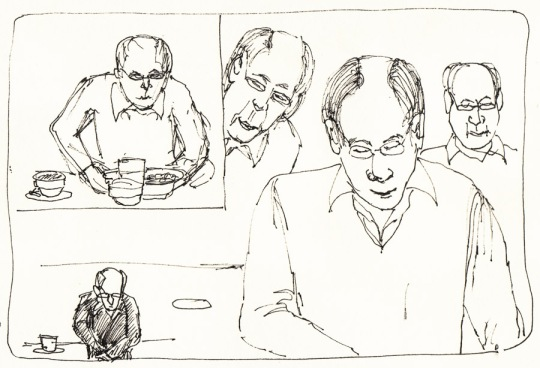 Balding at Brennan's Bar: trying and trying to capture him. Ink, 6x8